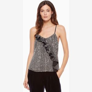 Parker Justine Sequin Camisole Ruffled Frill Top